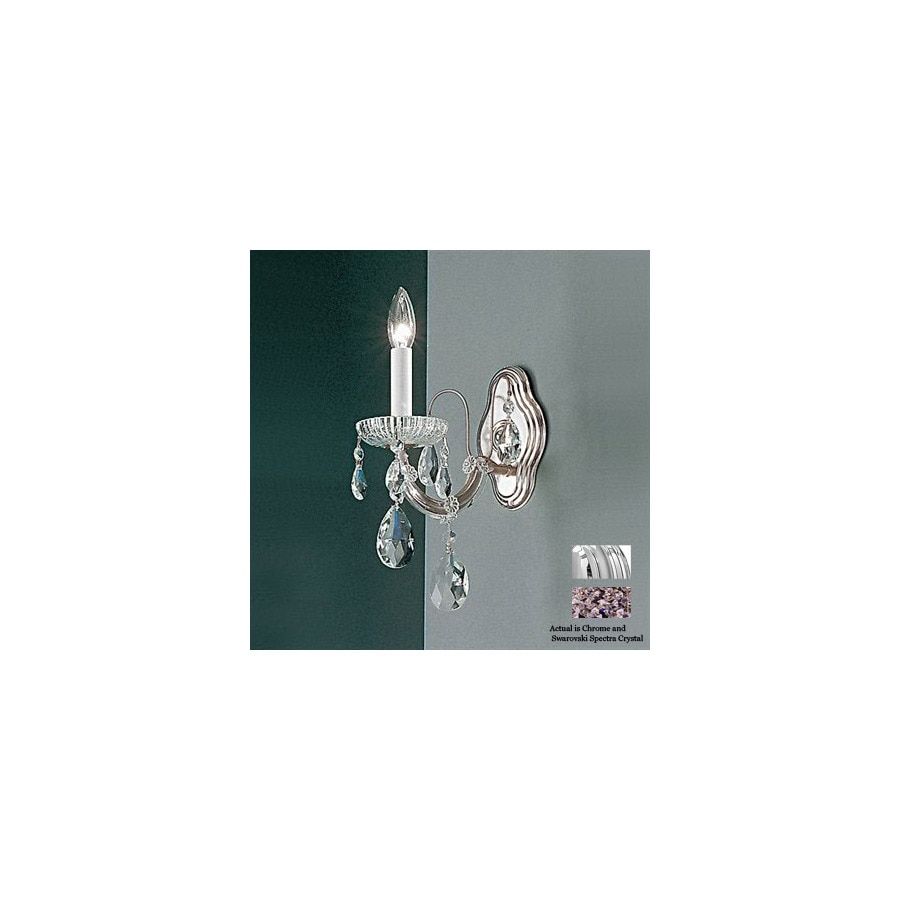Classic Lighting 6-in W Maria Theresa 1-Light Chrome Crystal Arm Wall Sconce
