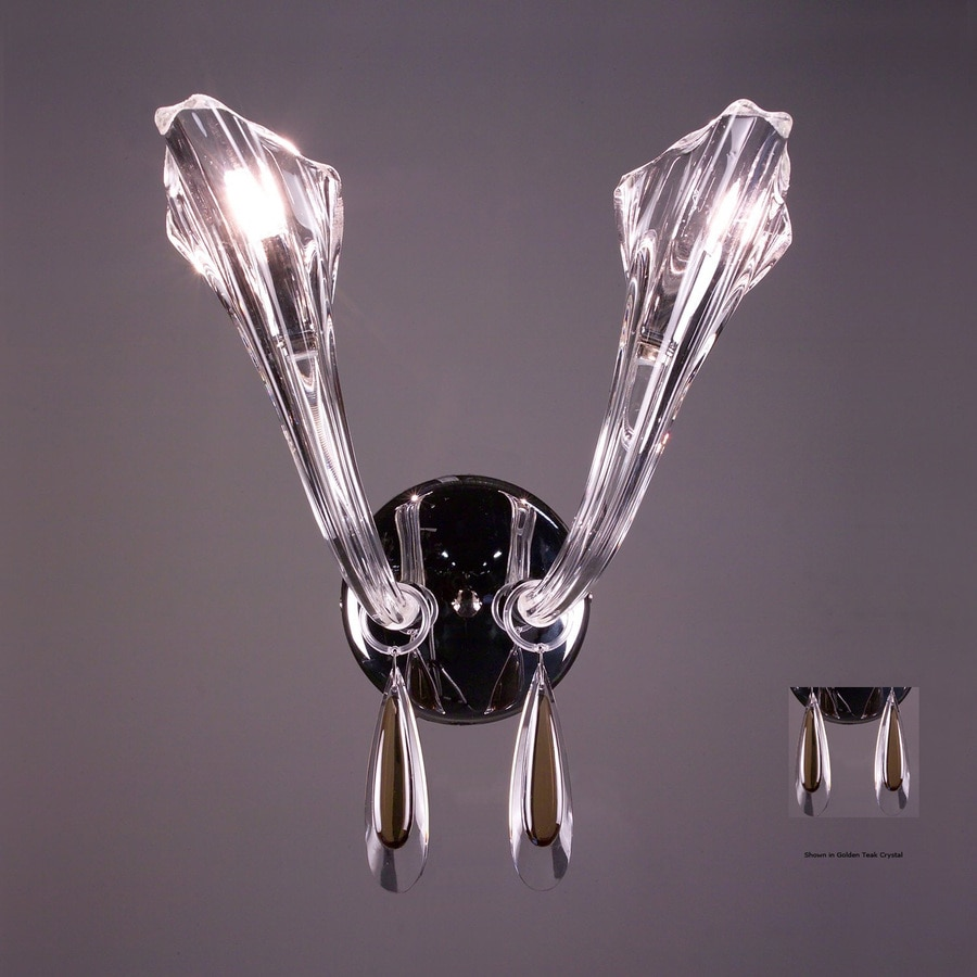 Classic Lighting 10-in W Inspiration 2-Light Chrome Crystal Arm Wall Sconce