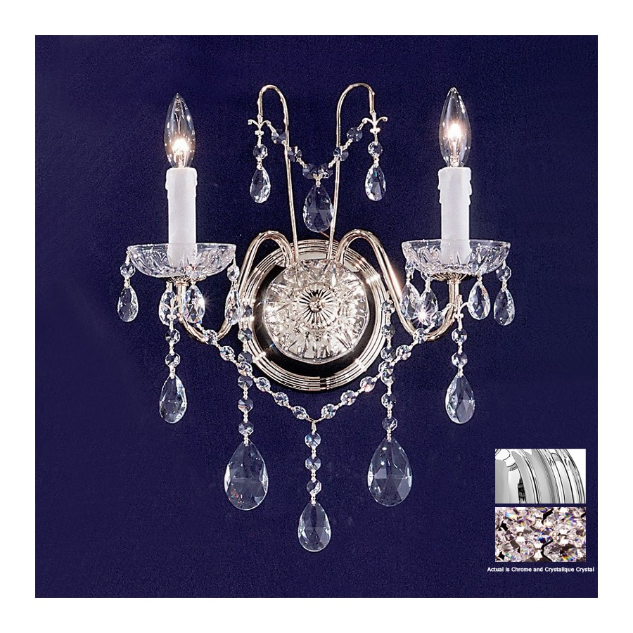 Classic Lighting 13-in W Daniele 2-Light Chrome Crystal Arm Wall Sconce