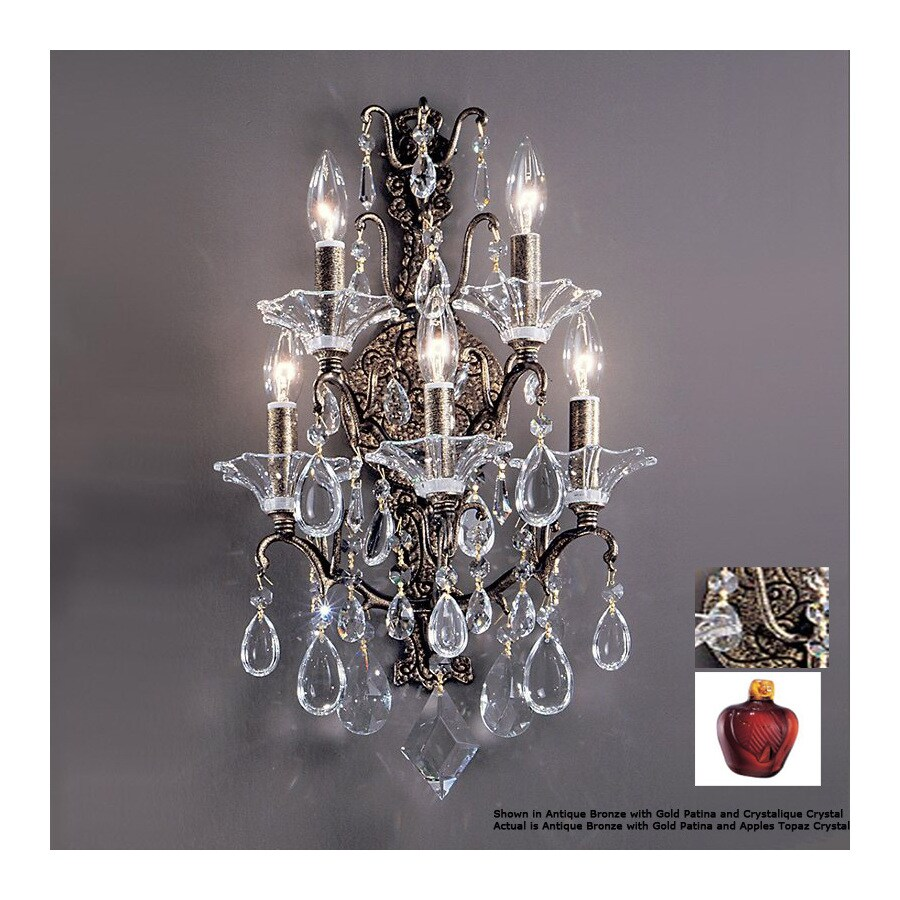 Classic Lighting 14-in W Garden of Versailles Antique Bronze Crystal Arm Wall Sconce