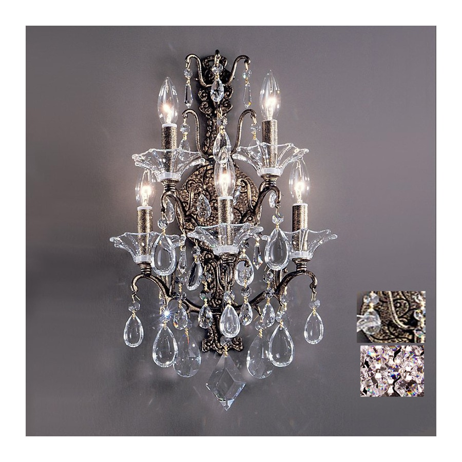 Classic Lighting Garden of Versailles 14-in W-Light Antique Bronze with Gold Patina Crystal Arm Hardwired Wall Sconce