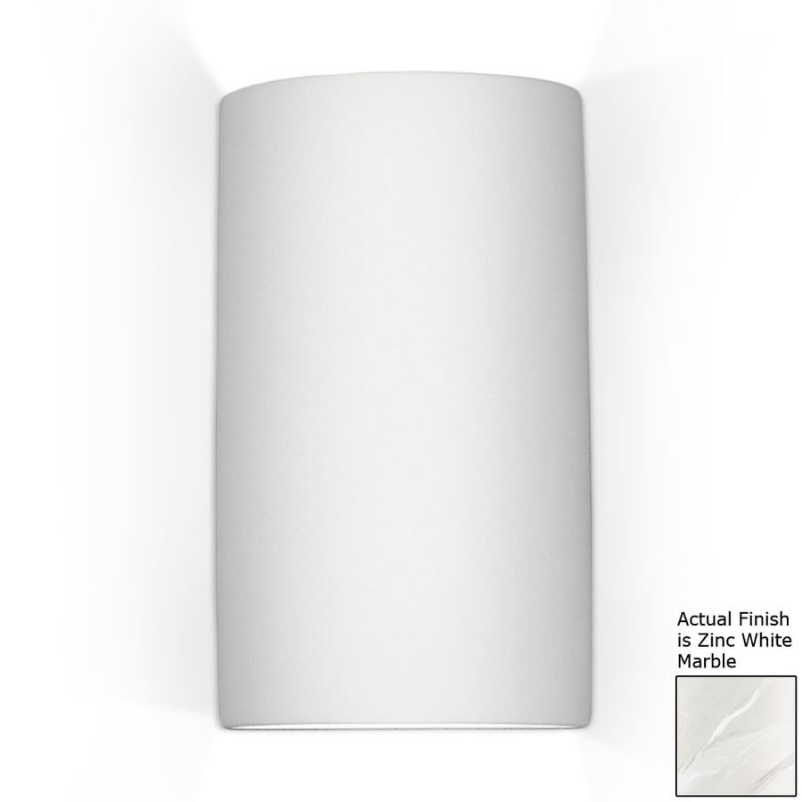 A-19 Islands Of Light Tenos 5.25-in W 1-Light Zinc-White Marble Pocket Wall Sconce