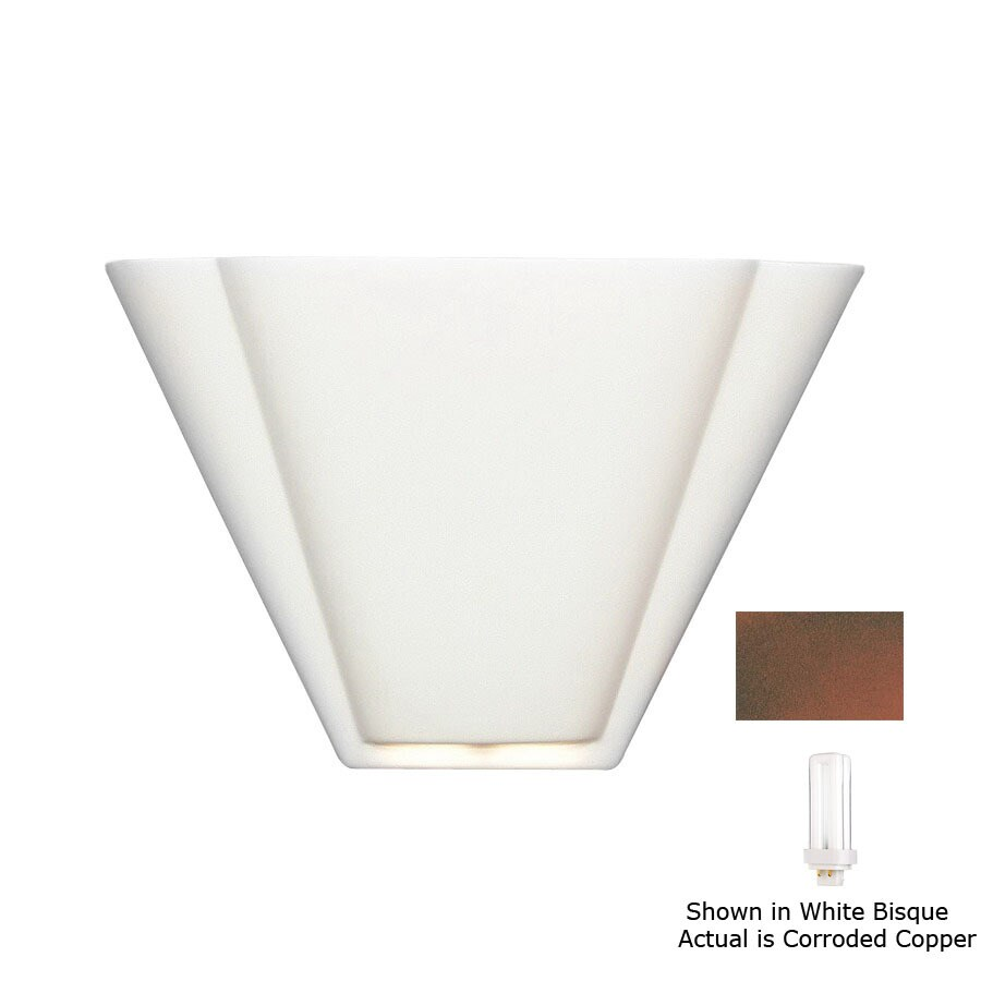 A-19 Islands of Light Nova Scotia 13.25-in W 1-Light Corroded Copper Pocket Hardwired Wall Sconce