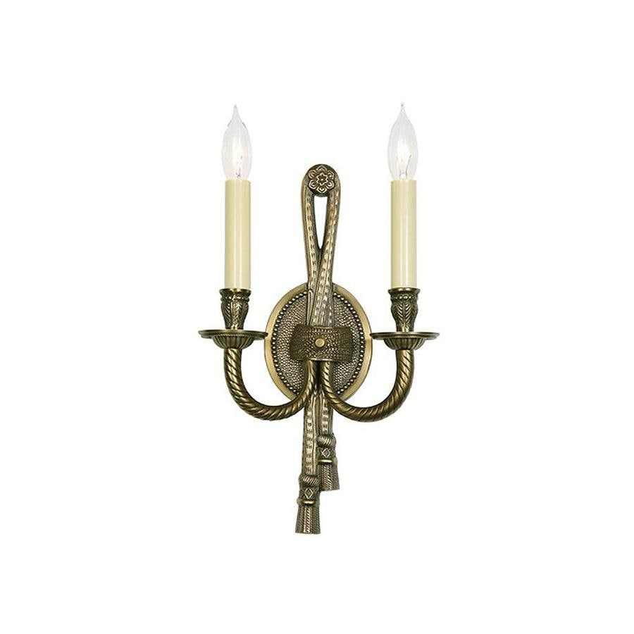 JVI Designs 9-in W 2-Light Antique Brass Arm Wall Sconce