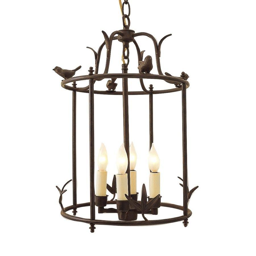 JVI Designs Hanging Bird 12-in Rust Rustic Single Cage Pendant