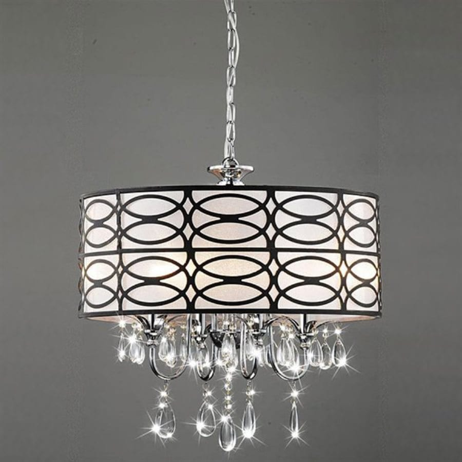 17 Best Ideas About Drum Shade Chandelier On Pinterest: Warehouse Of Tiffany Roxanne 4-Light Chrome Transitional