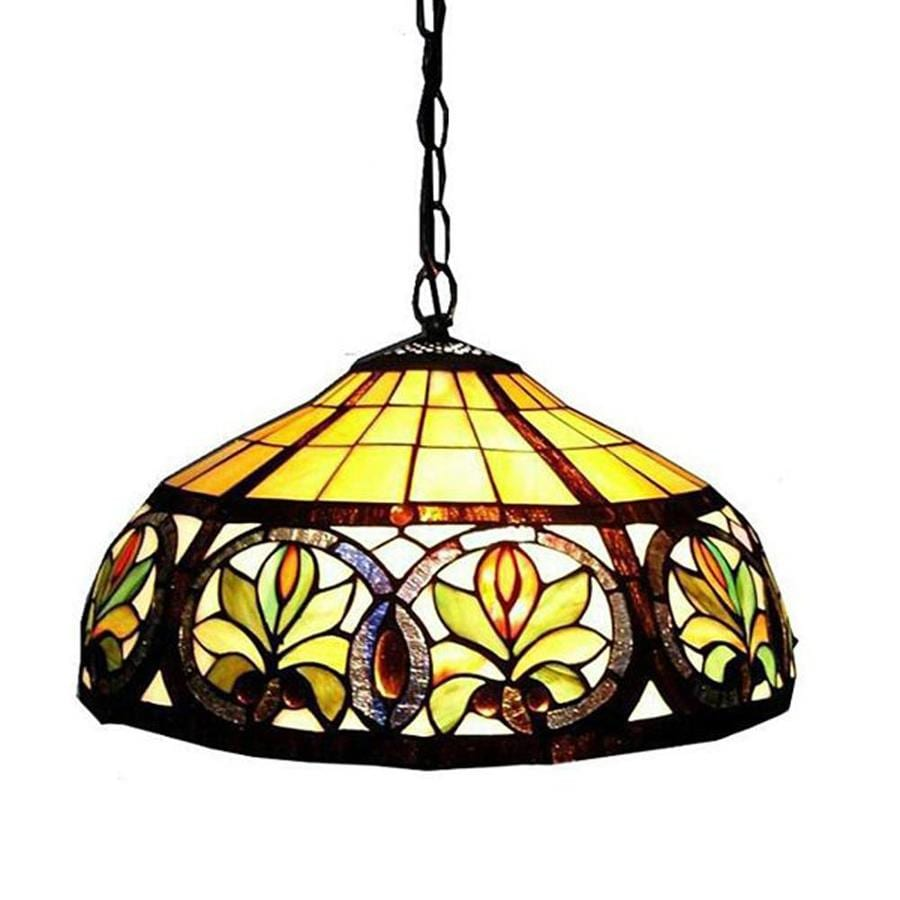 Warehouse of Tiffany 18-in Bronze Tiffany-Style Single Stained Glass Dome Pendant