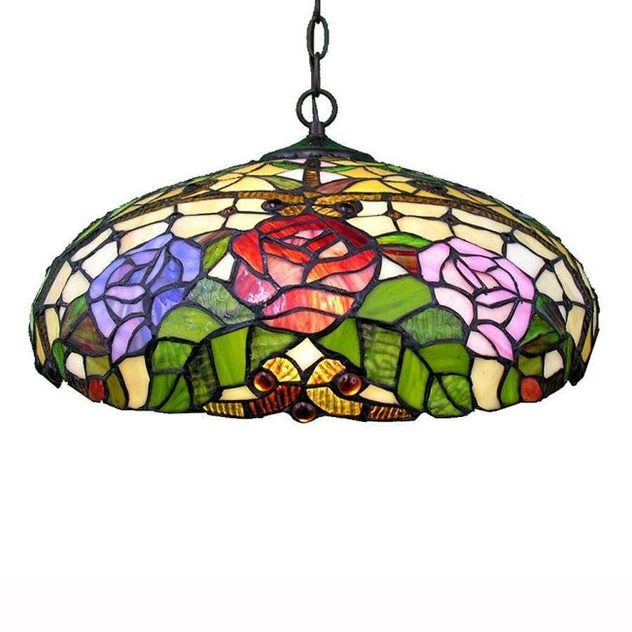 Warehouse of Tiffany 18-in Amber/Pink/Purple Tiffany-Style Single Stained Glass Dome Pendant