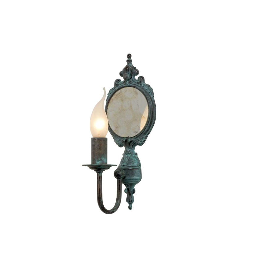 Lustrarte Candle 5.12-in W 1-Light Antique Green Arm Hardwired Wall Sconce