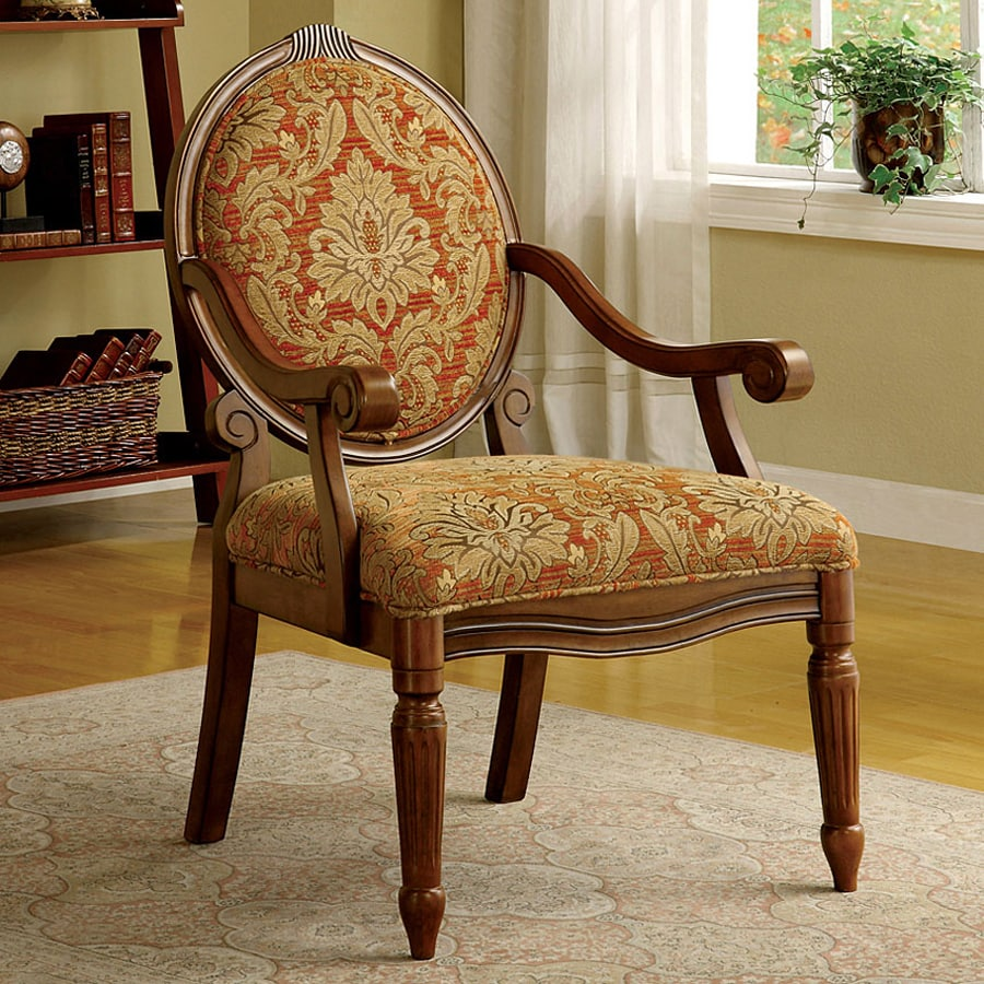 Good Furniture Of America Hammond Antique Oak Linen Accent Chair