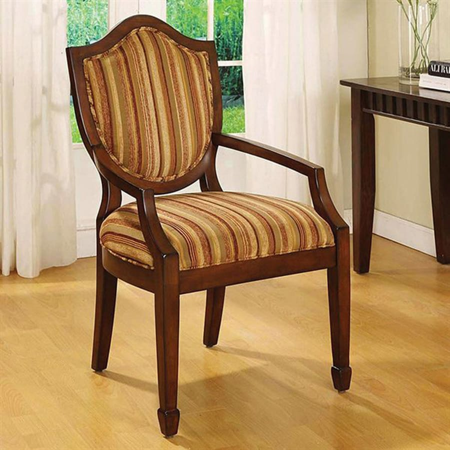 Furniture of America Bernetta Dark Walnut Linen Accent Chair