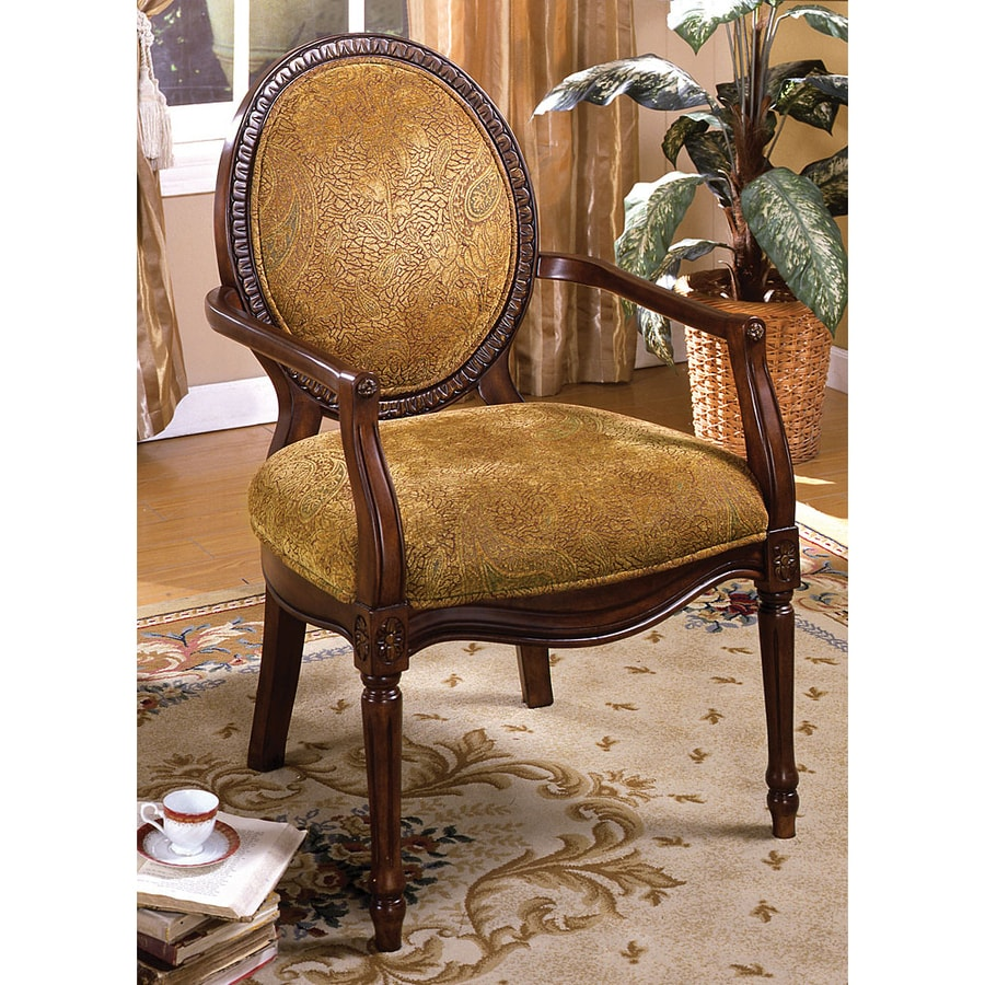 Furniture of America Hamilton Dark Oak Linen Accent Chair