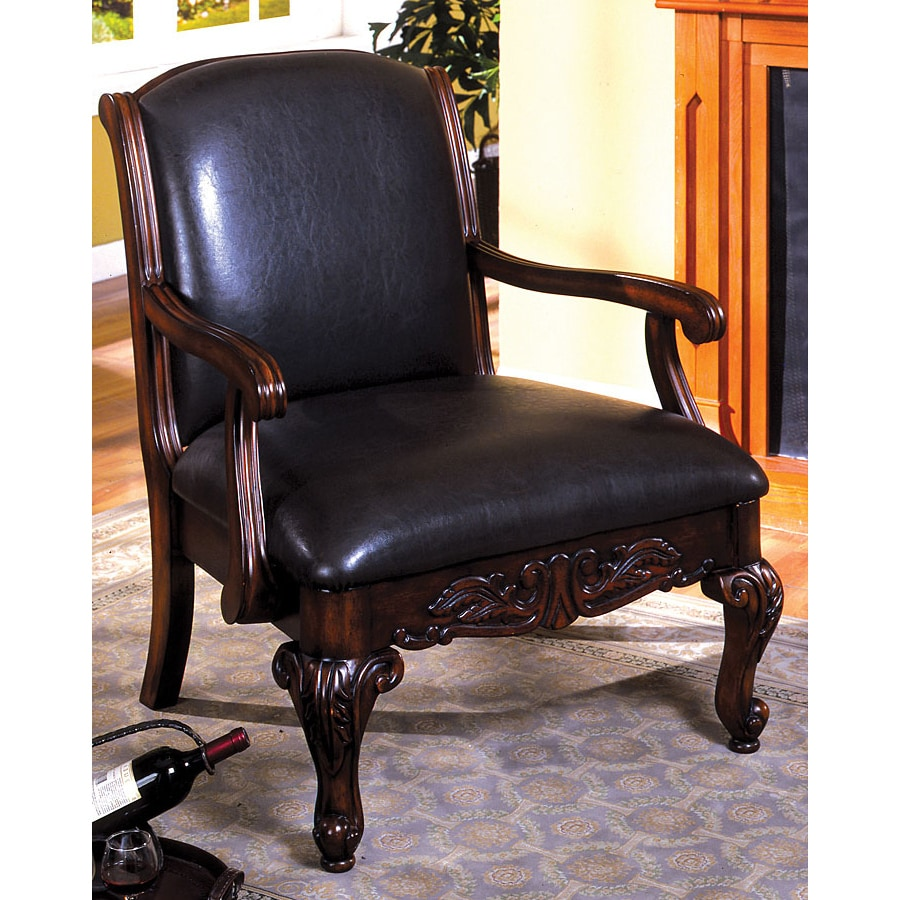 Furniture of America Sheffield Antique Dark Cherry Faux Leather Accent Chair