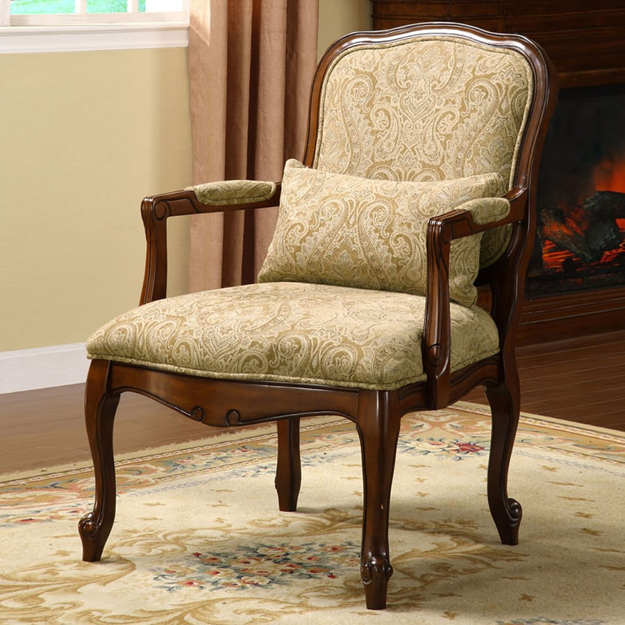 Traditional accent chairs - Furniture Of America Waterville Dark Cherry Linen Accent Chair