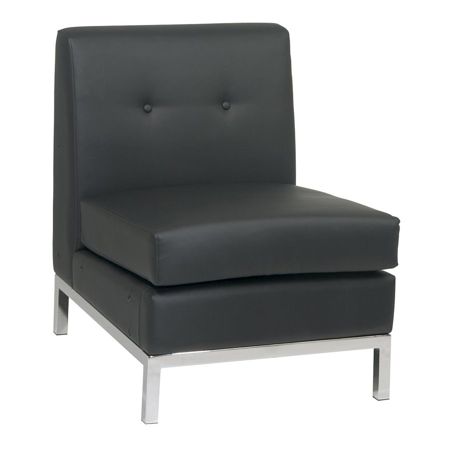 Shop Office Star Avenue Six Black Faux Leather Accent Chair At