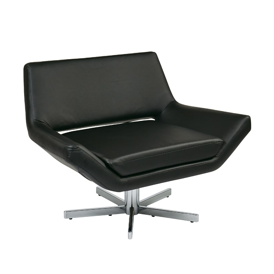 Shop Office Star Avenue Six Modern Black Faux Leather Accent Chair At