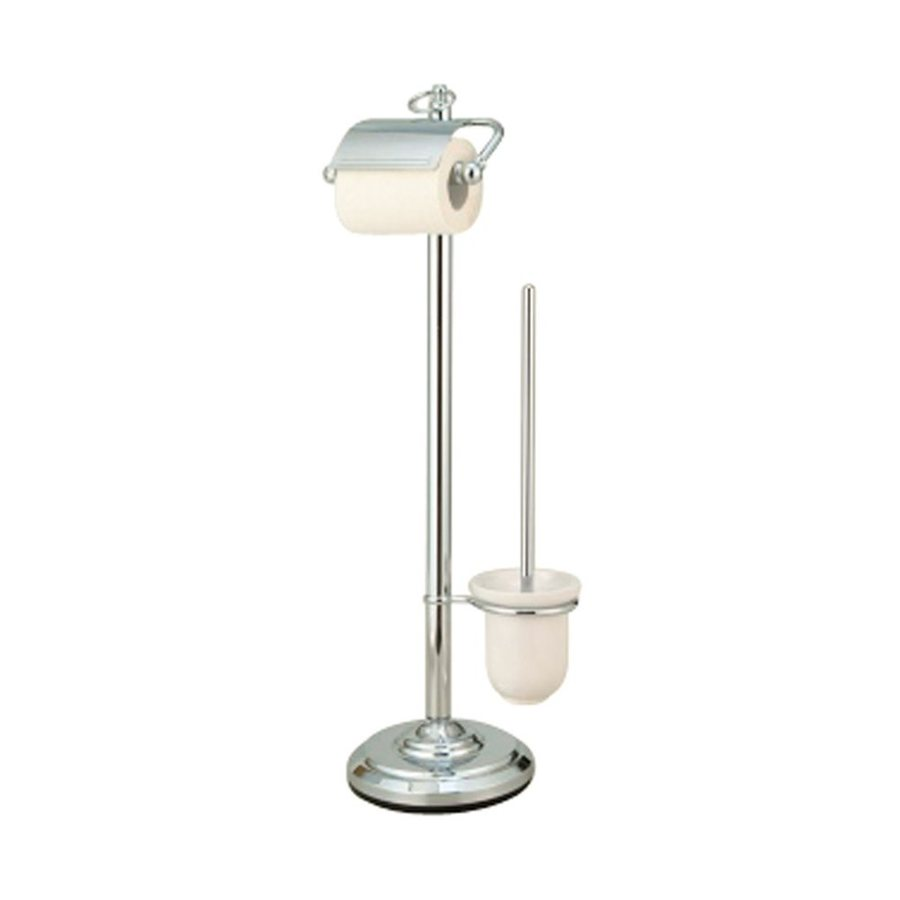 Elements of Design Vintage Chrome Freestanding Floor Spring-Loaded Toilet Paper Holder