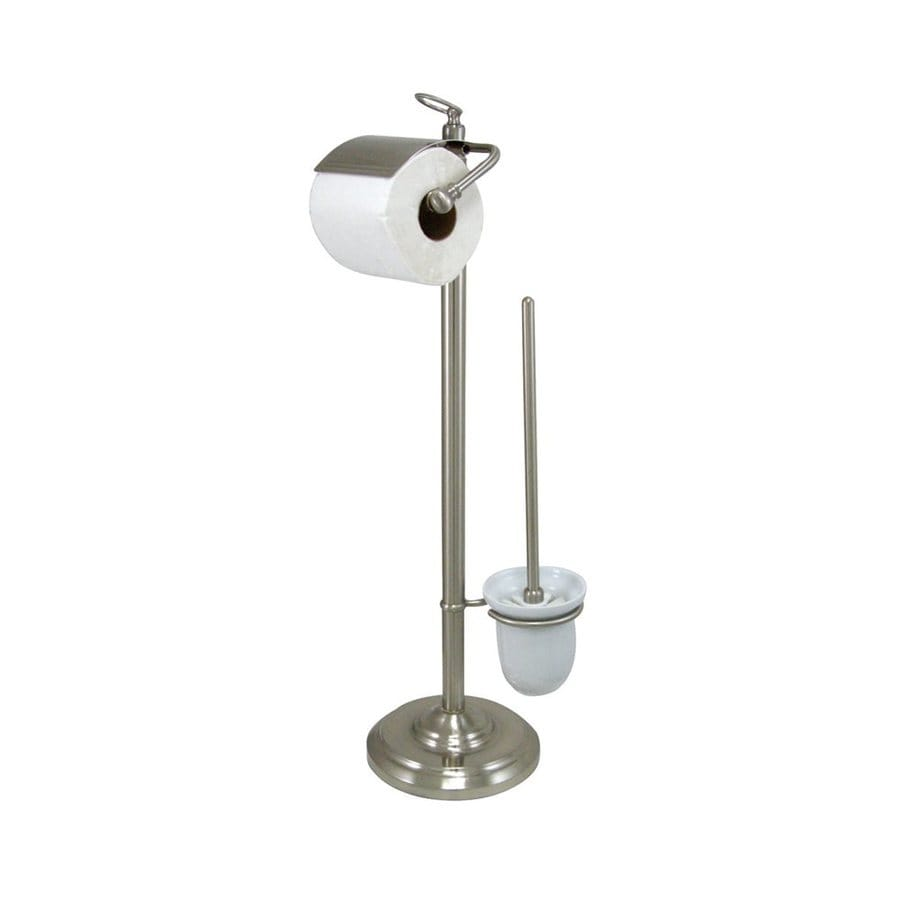 Elements of Design Vintage Satin Nickel Freestanding Floor Spring-Loaded Toilet Paper Holder