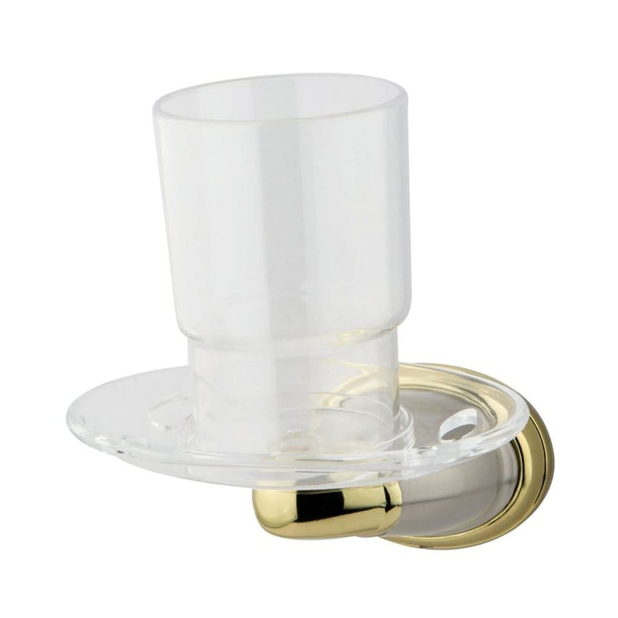 Elements of Design Magellan Satin Nickel/Polished Brass Glass Tumbler and Toothbrush Holder