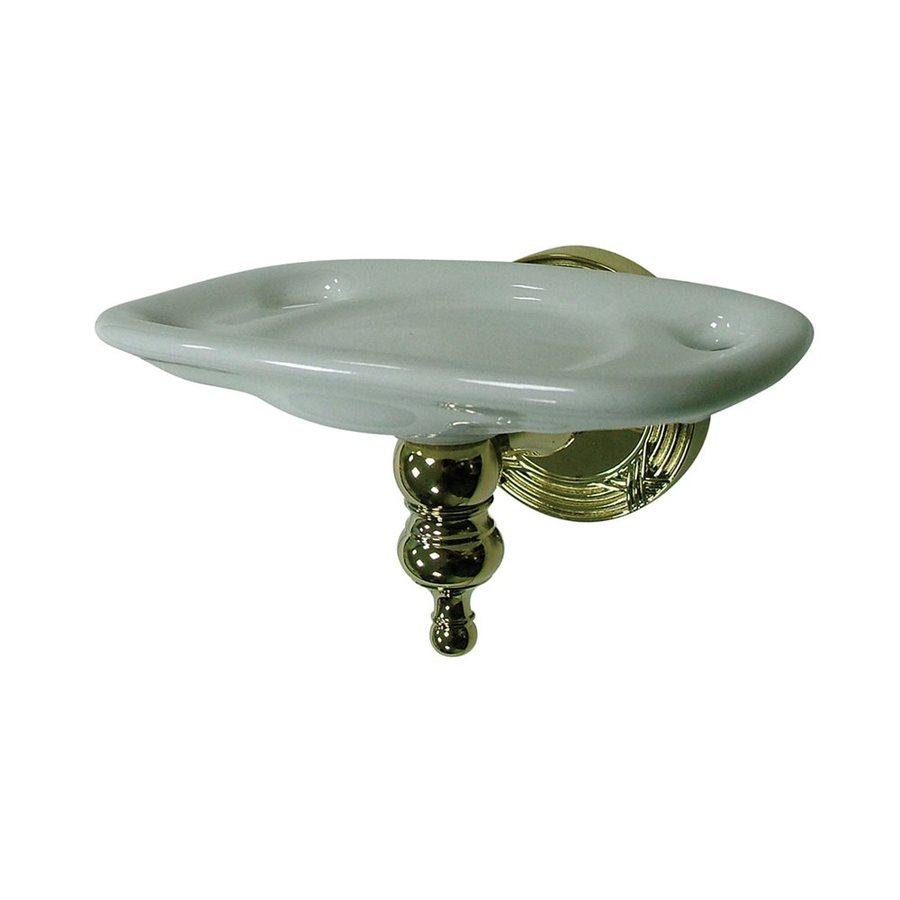 Elements of Design Templeton Polished Brass Porcelain Toothbrush Holder