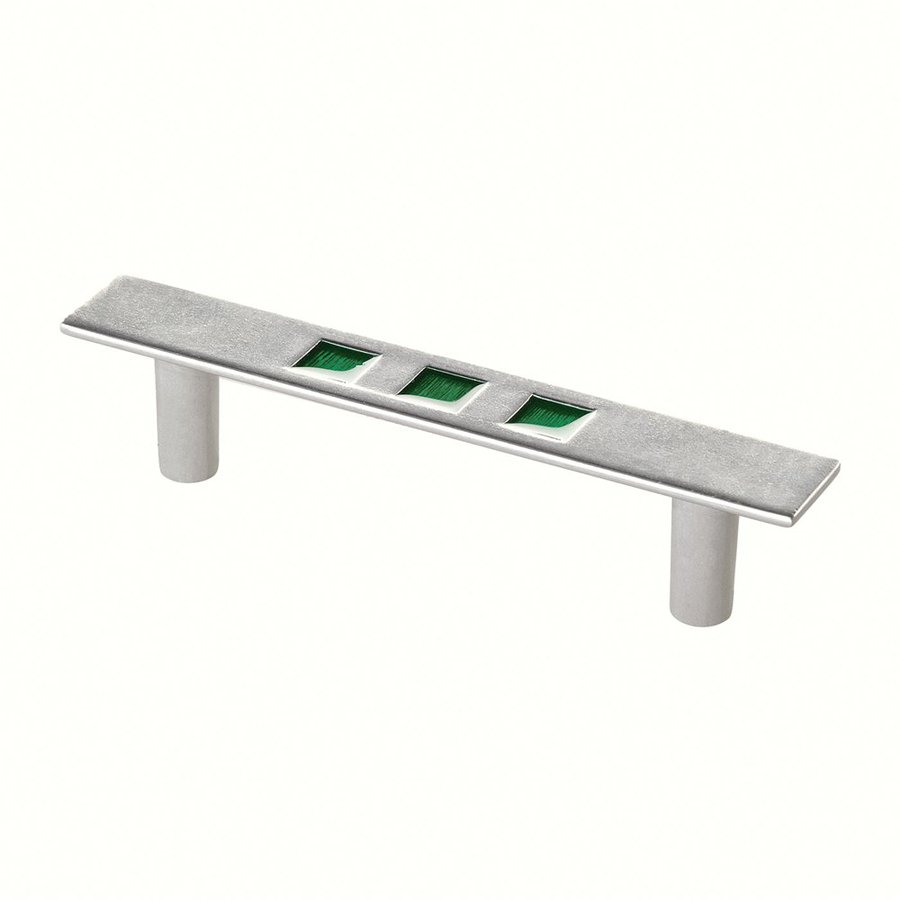Siro Designs 3-3/4-in Center-To-Center Matte Zinc/Green Rio Novelty Cabinet Pull