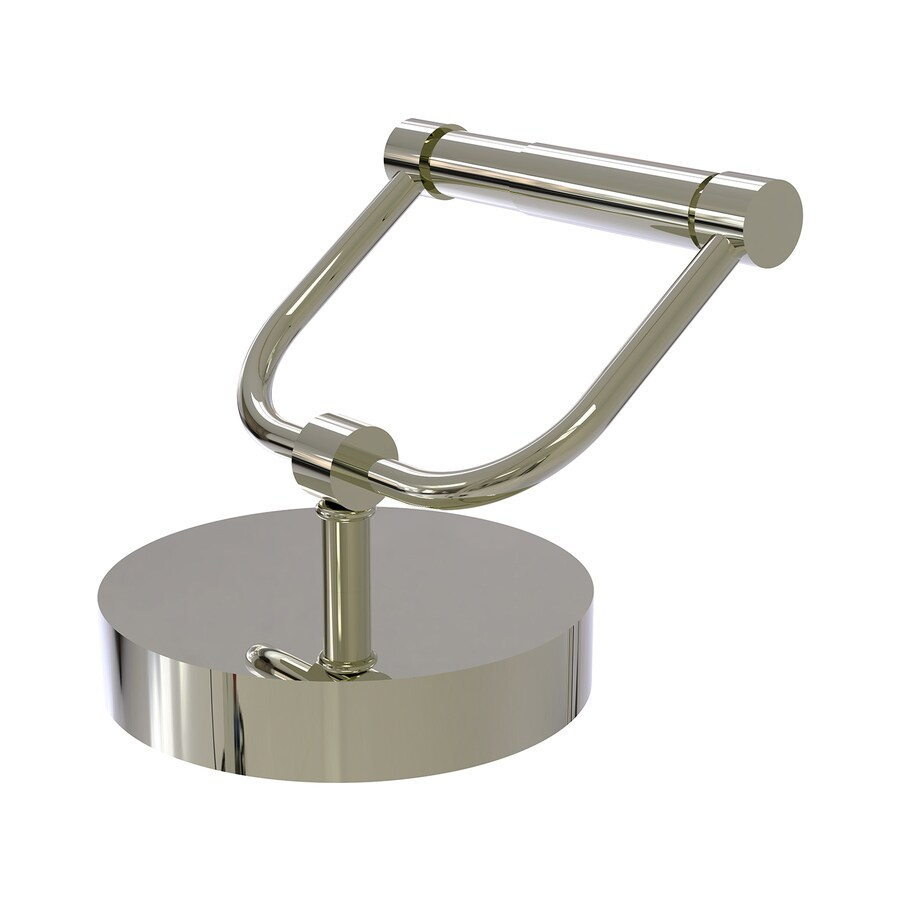 Shop allied brass polished nickel freestanding countertop spring loaded toilet paper holder at for Polished chrome bathroom countertop accessories