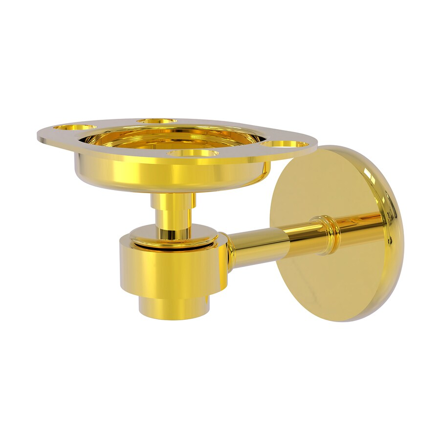 Allied Brass Satellite Orbit One Polished Brass Brass Toothbrush Holder