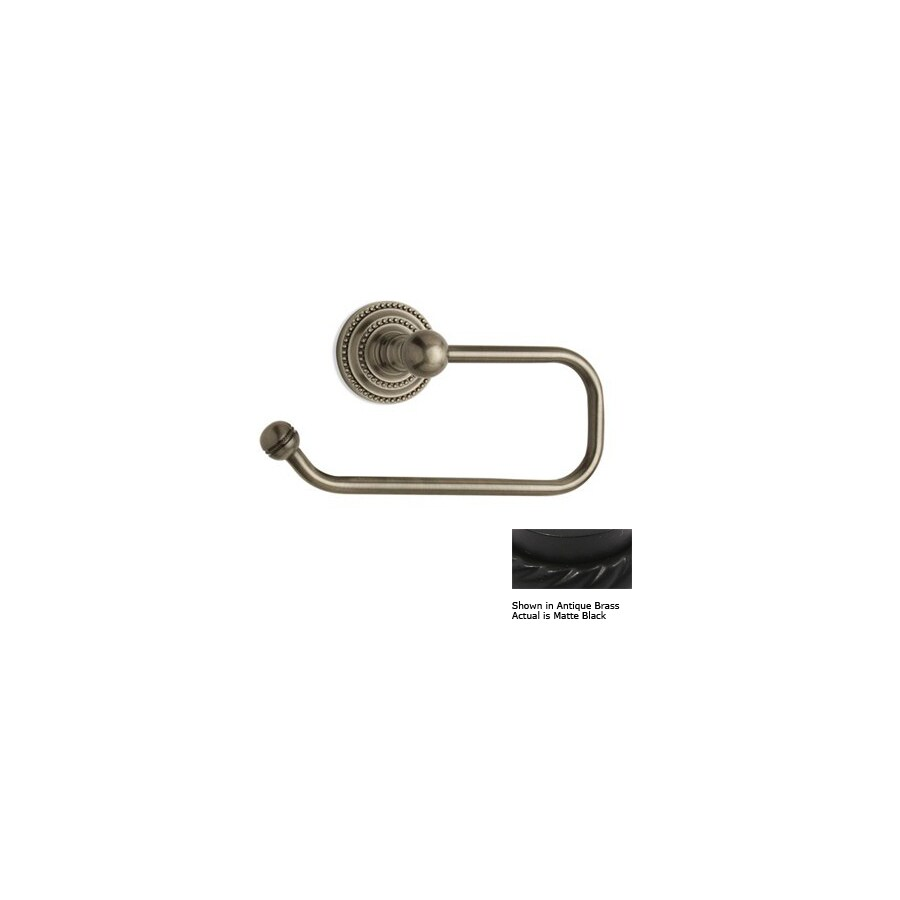 Allied Brass Dottingham Matte Black Surface Mount Single Post Toilet Paper Holder
