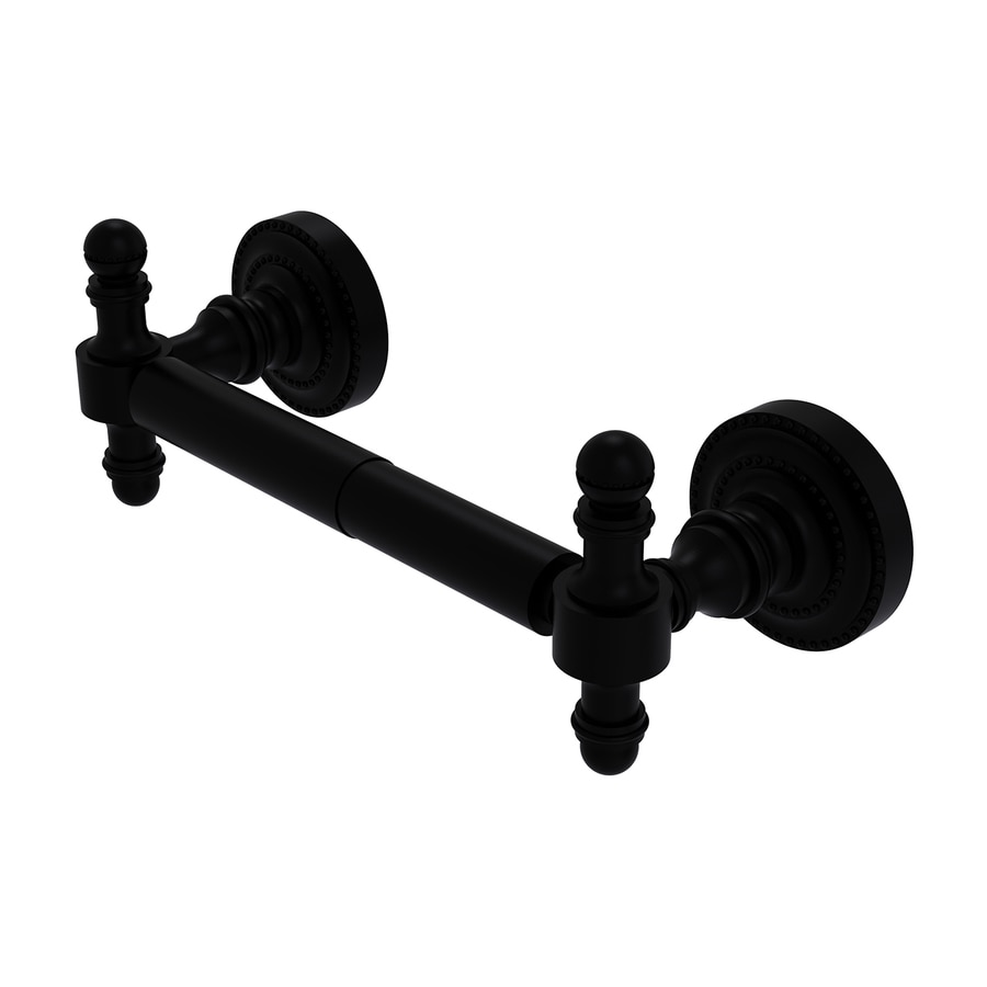 Allied Brass Retro Dot Matte Black Surface Mount Spring-Loaded Toilet Paper Holder