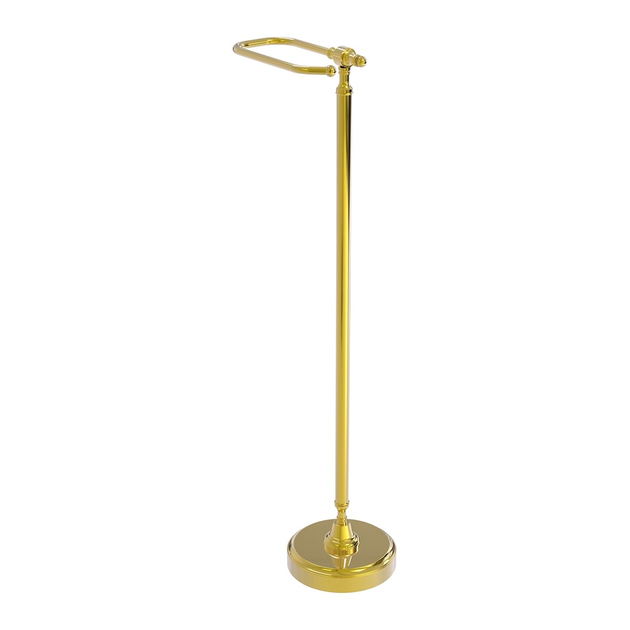 Allied Brass Retro Dot Polished Brass Freestanding Floor Single Post with Arm Toilet Paper Holder