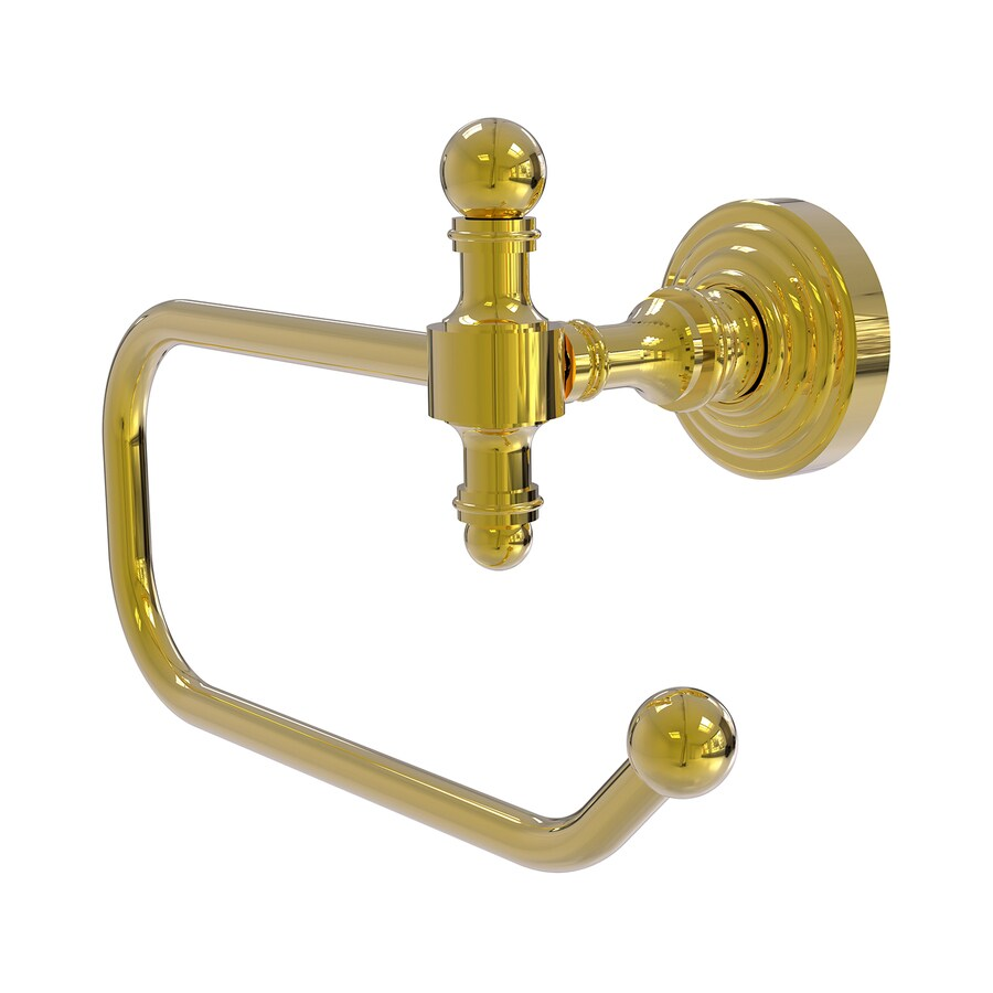 Allied Brass Retro Wave Polished Brass Surface Mount Single Post with Arm Toilet Paper Holder