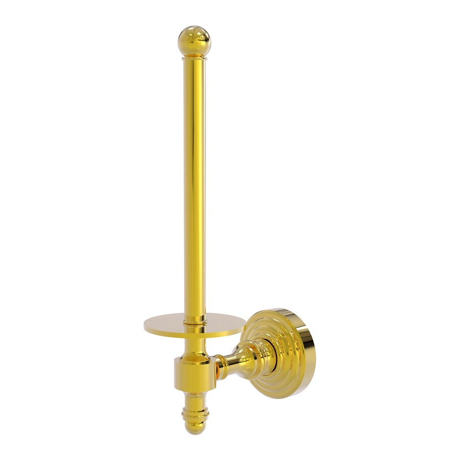 Allied Brass Retro Wave Polished Brass Surface Mount Single Post Toilet Paper Holder