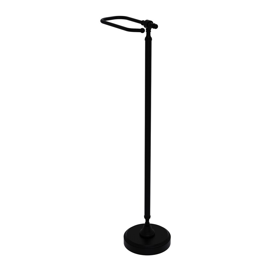 Allied Brass Retro Wave Matte Black Freestanding Single Post Toilet Paper Holder