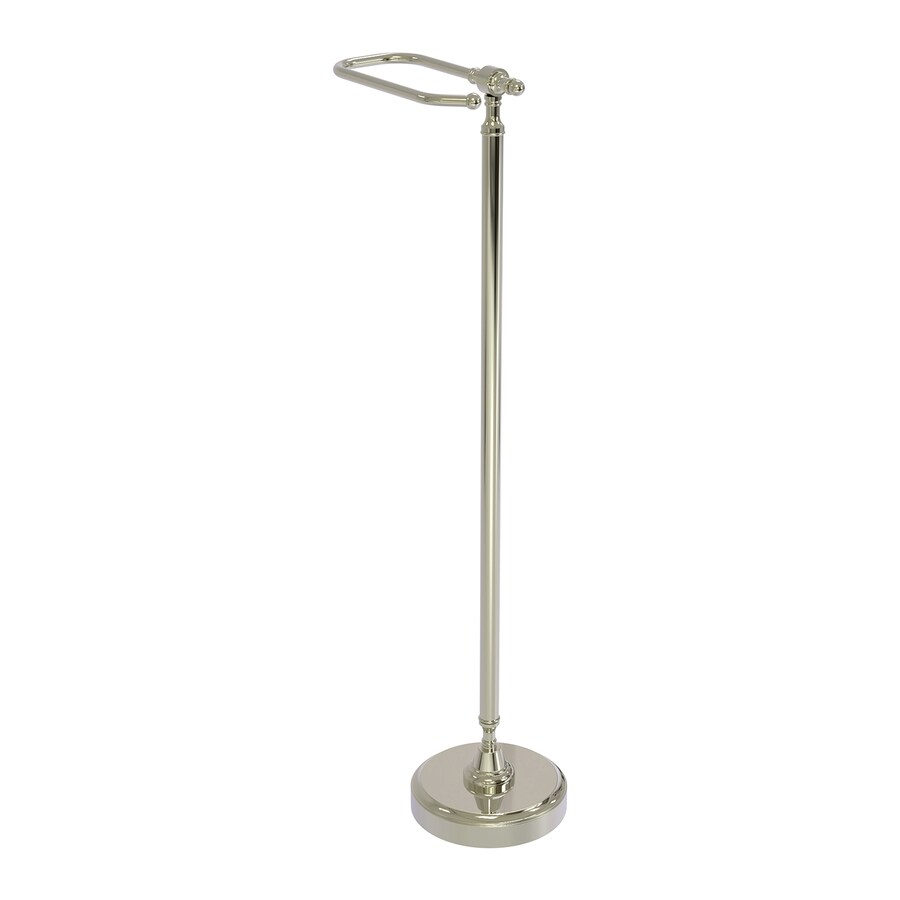 Allied Brass Retro-Wave Polished Nickel Freestanding Floor Toilet Paper Holder