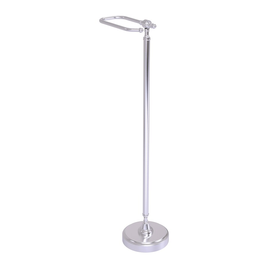Allied Brass Retro Wave Satin Chrome Freestanding Floor Single Post with Arm Toilet Paper Holder