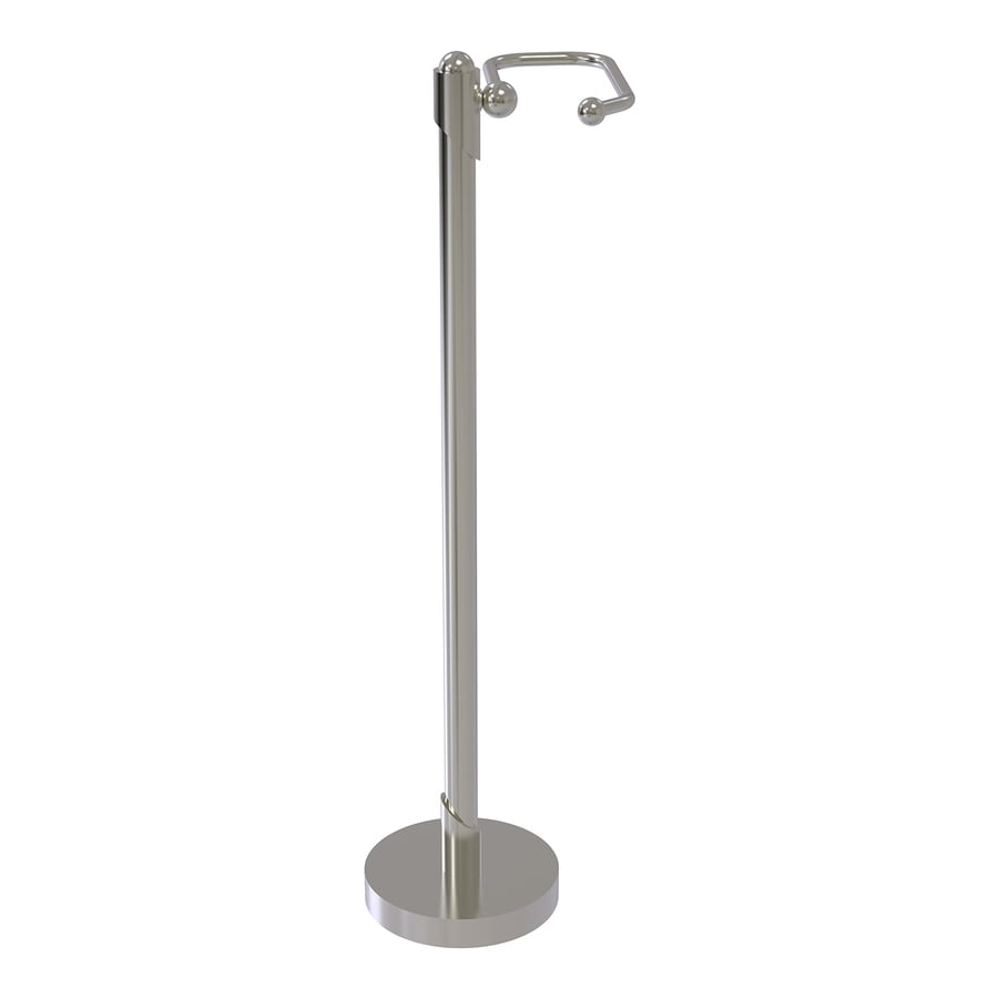 Allied Brass Soho Satin Nickel Freestanding Floor Single Post with Arm Toilet Paper Holder