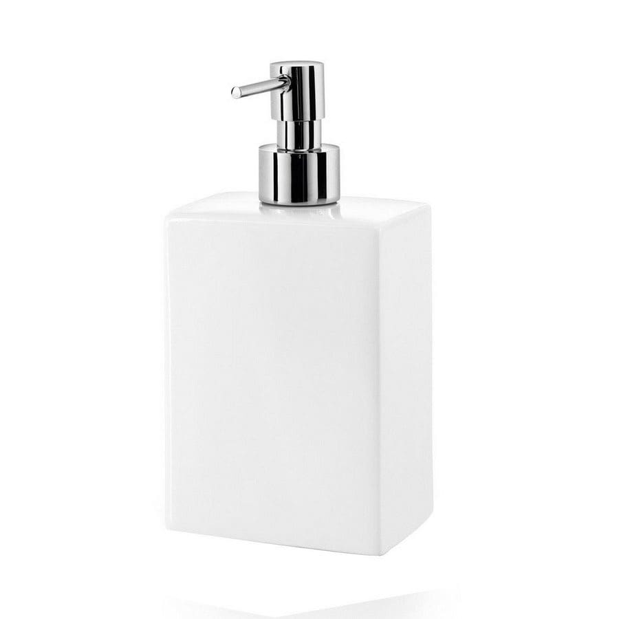 Ws bath collections porcelain white soap and lotion - Bathroom soap and lotion dispenser set ...
