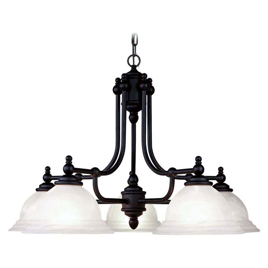 Livex Lighting North Port 28-in 5-Light Black Industrial Alabaster Glass Shaded Chandelier