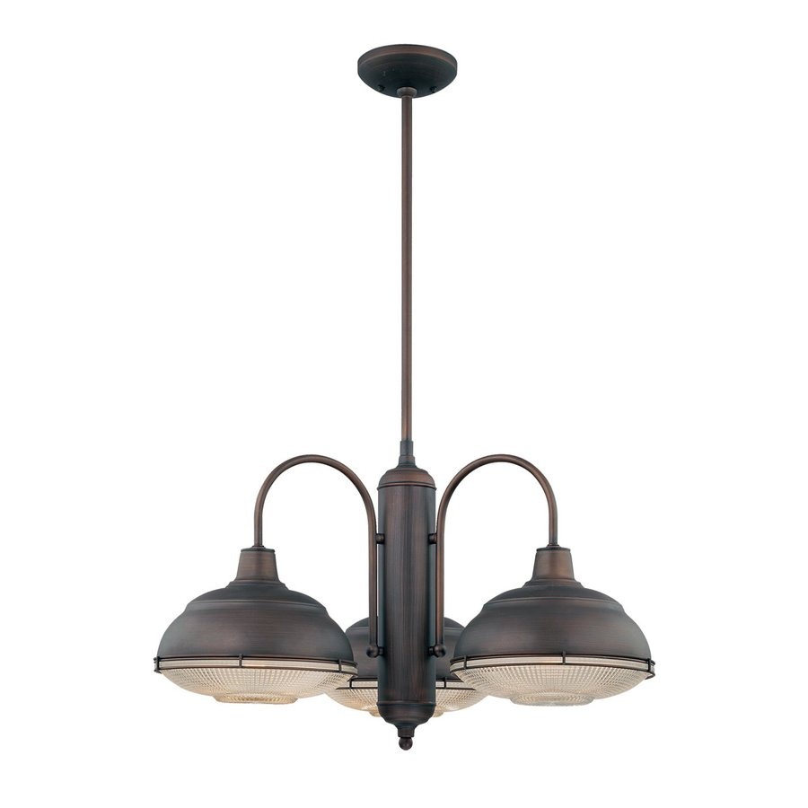 Millennium Lighting Neo-Industrial 27-in 3-Light Rubbed Bronze Industrial Clear Glass Shaded Chandelier