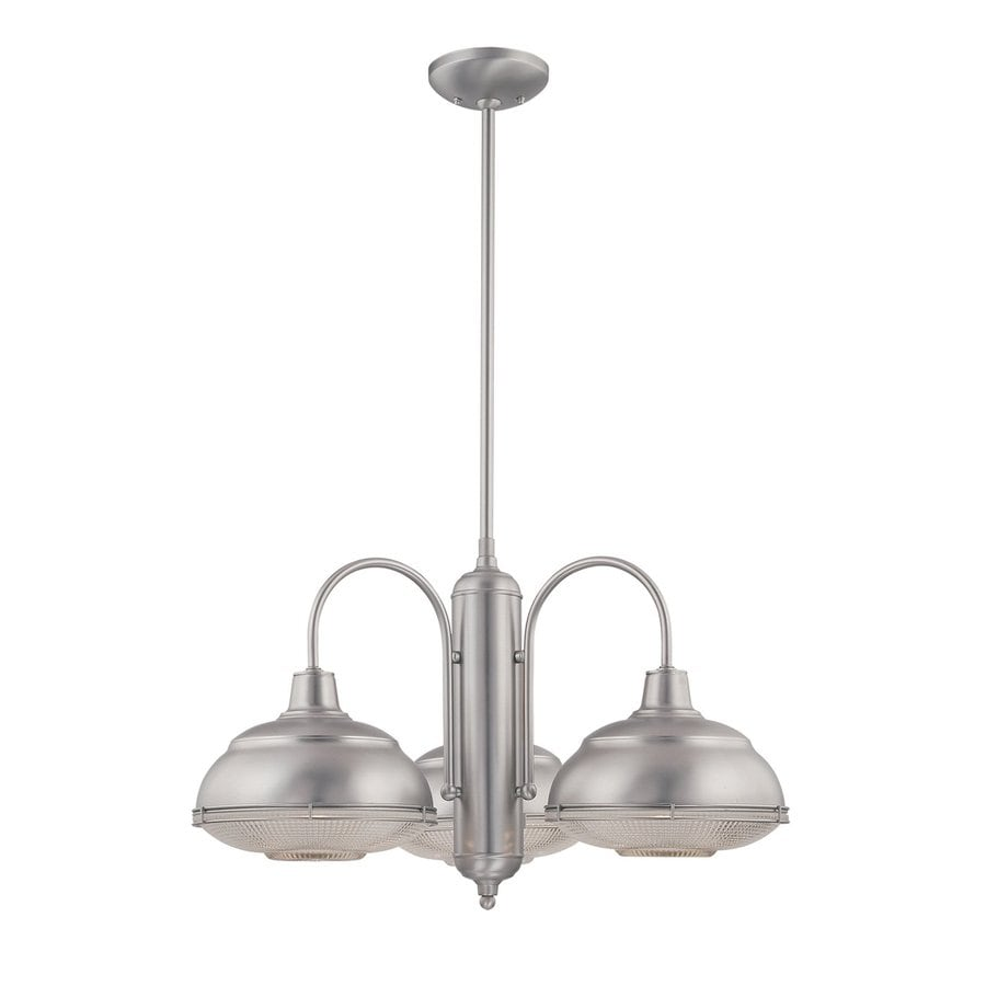 Millennium Lighting Neo-Industrial 27-in 3-Light Satin Nickel Industrial Clear Glass Shaded Chandelier