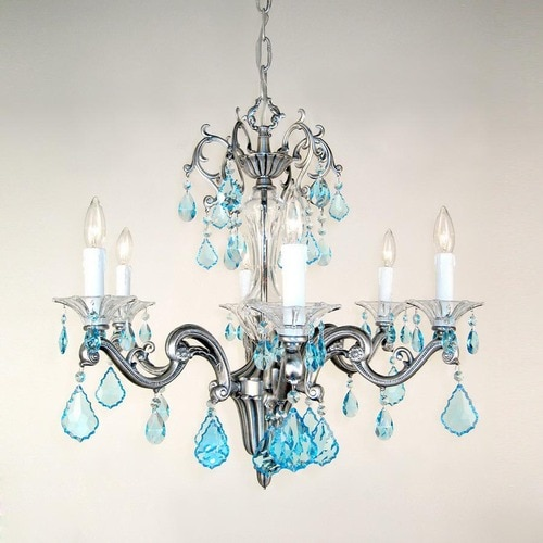 Image result for silver chandelier with aqua crystals