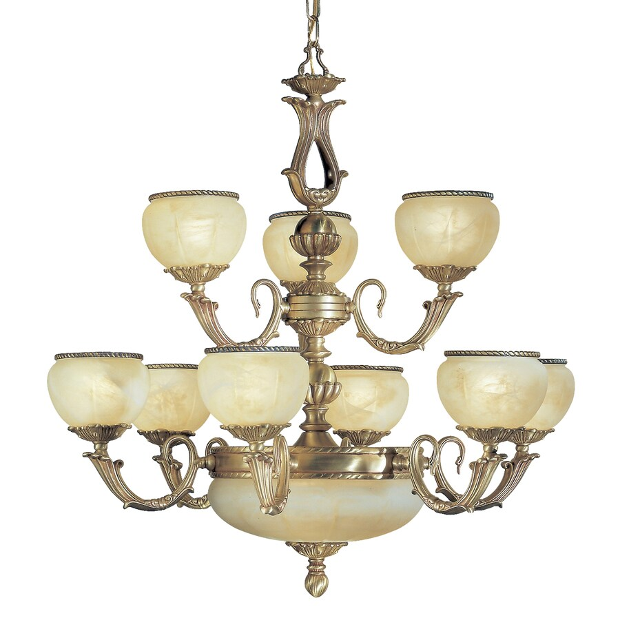 Classic Lighting Alexandria 32-in 12-Light Satin bronze with brown patina Vintage Alabaster Glass Tiered Chandelier