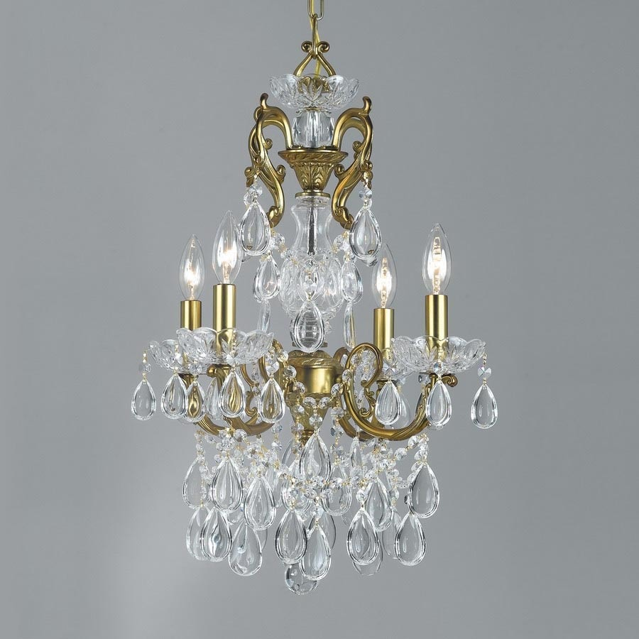 Classic Lighting Vienna Palace 17-in 4-Light Renovation Brass Crystal Candle Chandelier