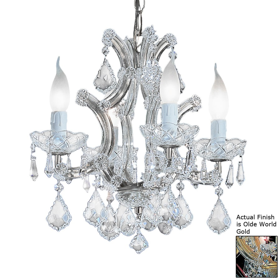 Classic Lighting Maria Theresa 16-in 4-Light Olde-world gold Crystal Crystal Candle Chandelier