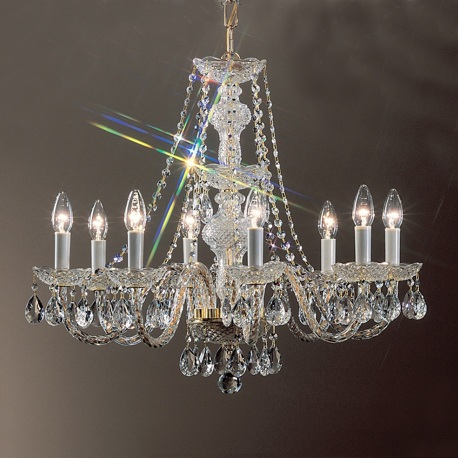 Shop classic lighting monticello 27 in 8 light 24k gold Crystal candle chandelier