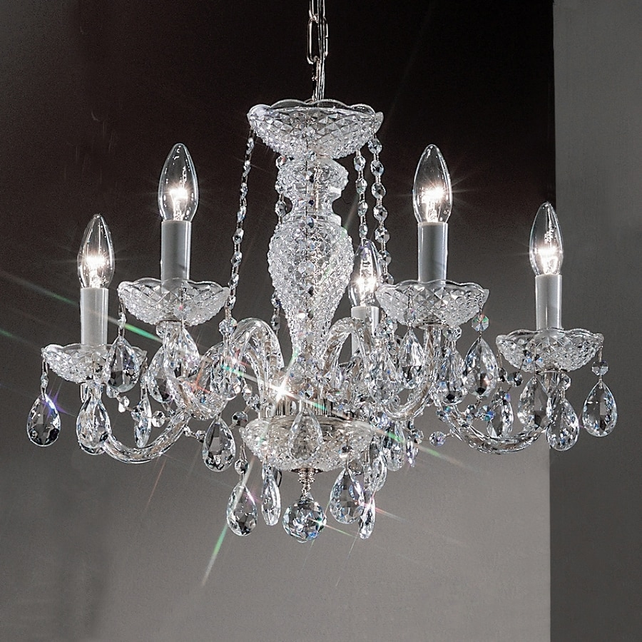Classic Lighting Monticello 22-in 5-Light Chrome Crystal Candle Chandelier