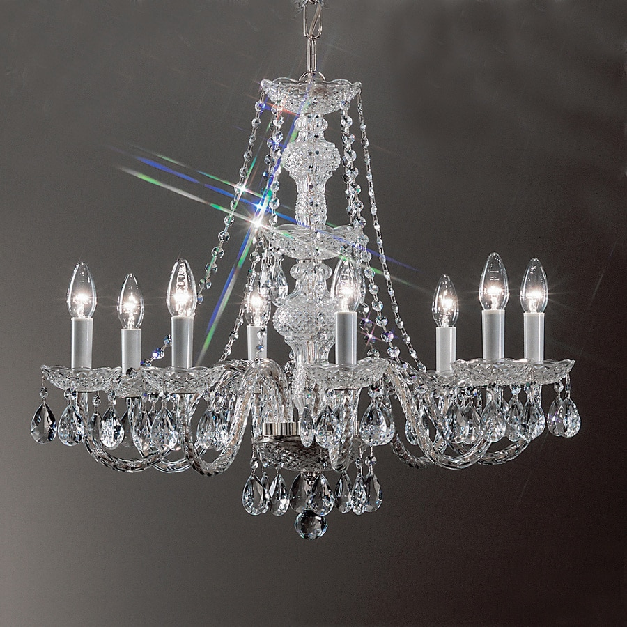Classic Lighting Monticello 27-in 8-Light Chrome Crystal Candle Chandelier