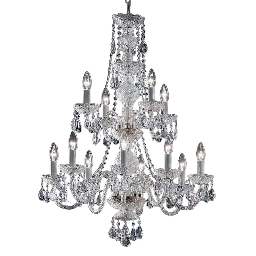Classic Lighting Monticello 27-in 12-Light Chrome Crystal Tiered Chandelier