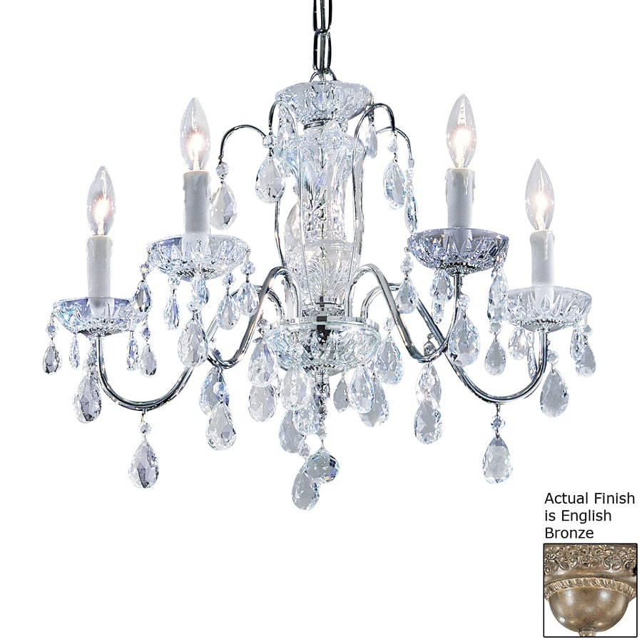 Classic Lighting Daniele 22-in 5-Light English Bronze Crystal Hardwired Candle Chandelier