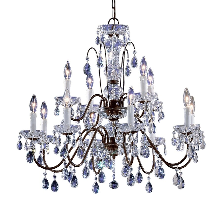 Classic Lighting Daniele 29-in 12-Light English bronze Crystal Tiered Chandelier